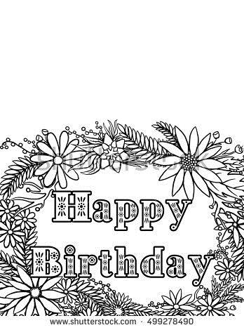 coloring book birthday card ; stock-photo-happy-birthday-card-coloring-page-499278490