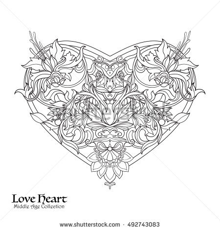 coloring book birthday card ; stock-vector-decorative-love-heart-in-baroque-royal-style-good-for-greeting-card-for-birthday-invitation-or-492743083
