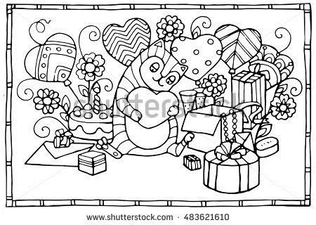 coloring book birthday card ; stock-vector-funny-cat-with-its-birthday-presents-adult-coloring-birthday-card-483621610