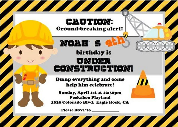 construction themed birthday party invitation templates ; 1-construction-themed-birthday-party