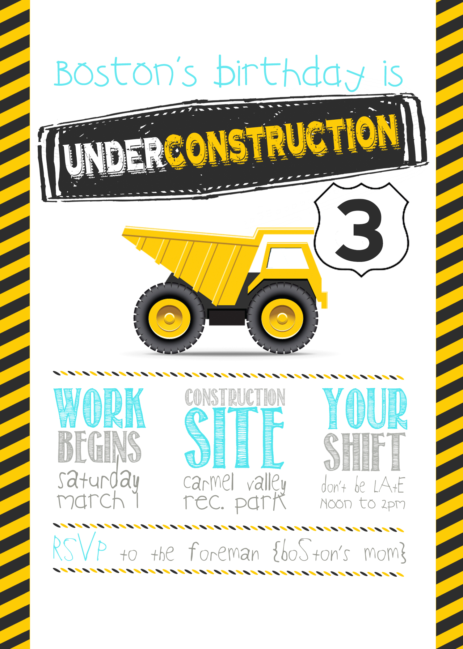construction themed birthday party invitation templates ; Boss-3rd-birthday-invite-construction-party