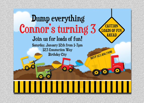 construction themed birthday party invitation templates ; construction-birthday-party-invitations-construction-birthday-invitation-boys-truck-birthday-party-templates