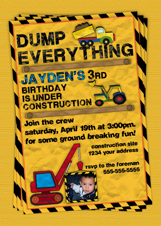 construction themed birthday party invitation templates ; construction-pals-custom-birthday-invitation-Amazing-10-Construction-Birthday-Party-Invitations-all-yellow-background