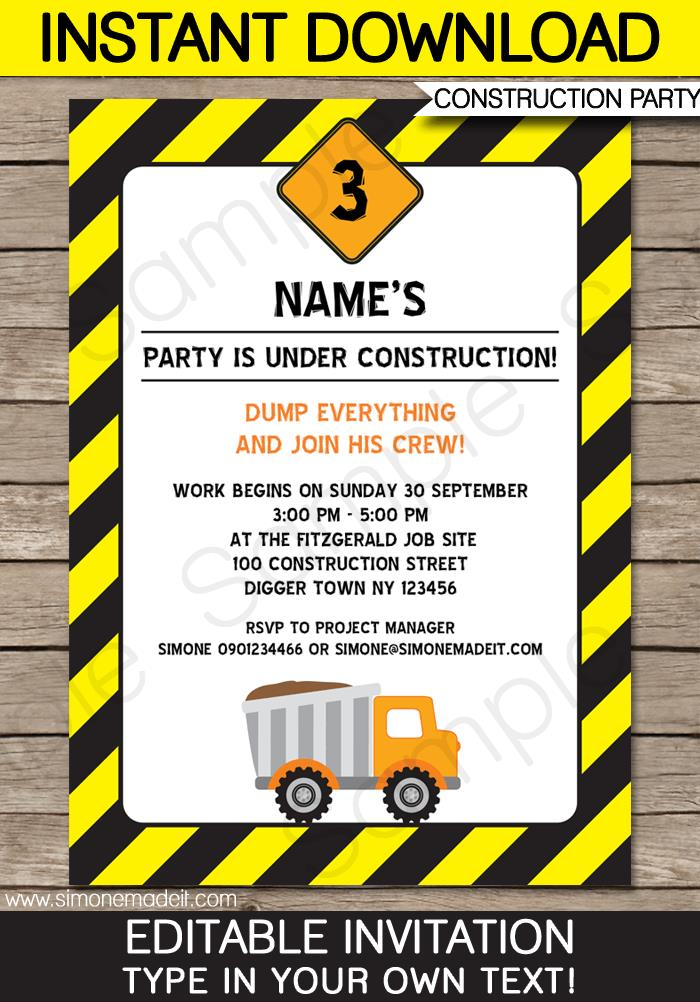construction themed birthday party invitation templates ; construction-party-invitation-templates-construction-party-invitations-template-birthday-party