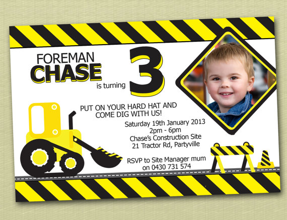construction themed birthday party invitation templates ; il_570xN