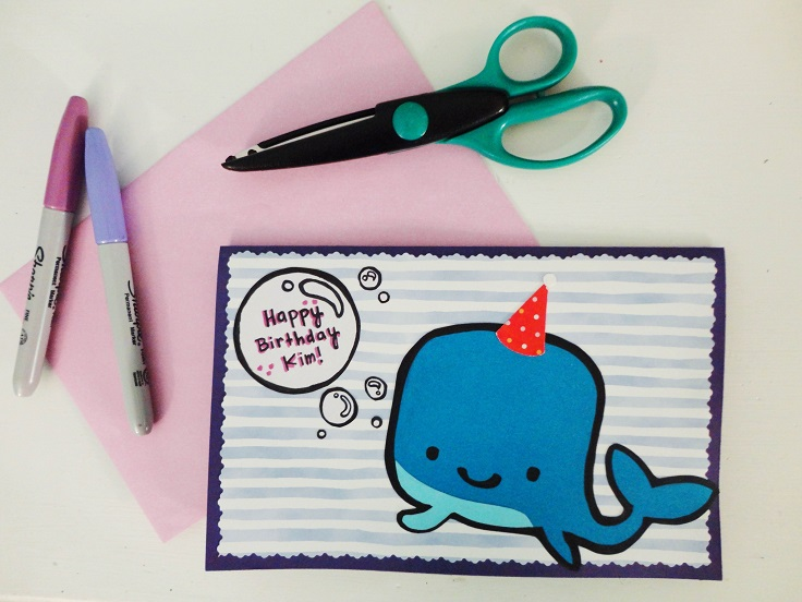 cute birthday card drawings ; Sharpie-whale-card