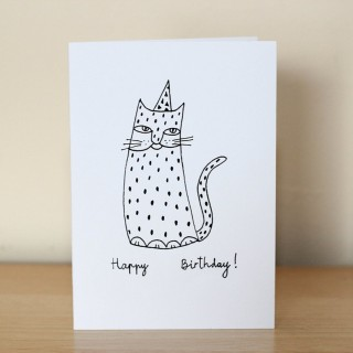 cute birthday card drawings ; small-hand-drawn-cat-birthday-card-funny-cat-drawing-cute-birthday