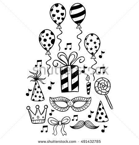 cute birthday drawings ; stock-vector-cute-birthday-icons-collection-using-hand-drawing-or-doodle-art-491432785