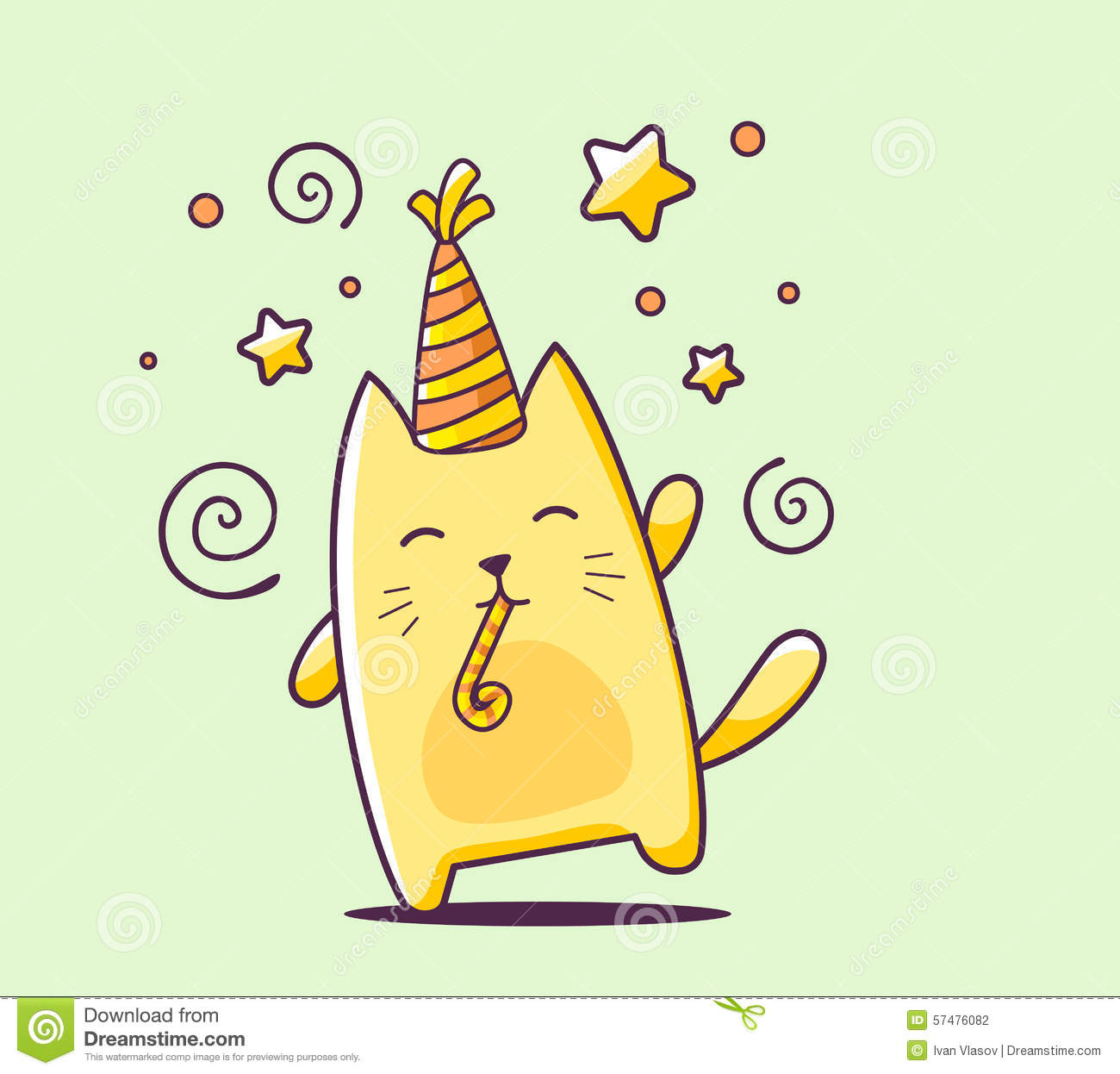 cute birthday drawings ; vector-illustration-color-happy-character-cat-hat-bl-blowout-green-background-hand-draw-line-art-design-web-57476082