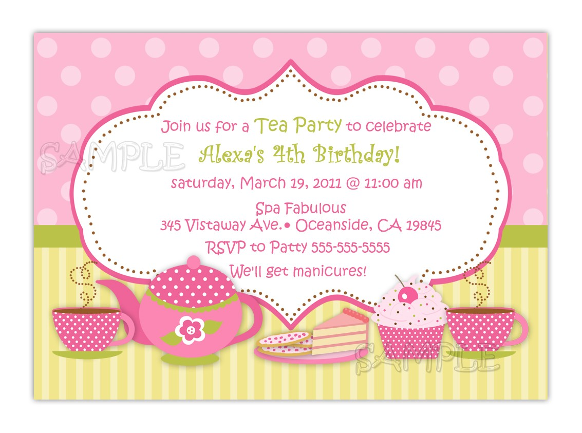 cute birthday invitation quotes ; Tea-Party-Invitation-Wording-pink-color-white-frame-pink-background-ideas