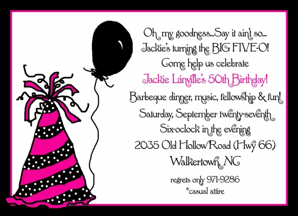 cute birthday invitation quotes ; uncategorized-alluring-50th-birthday-party-invitation-wording-with-black-balloon-art-and-cute-hand-colors