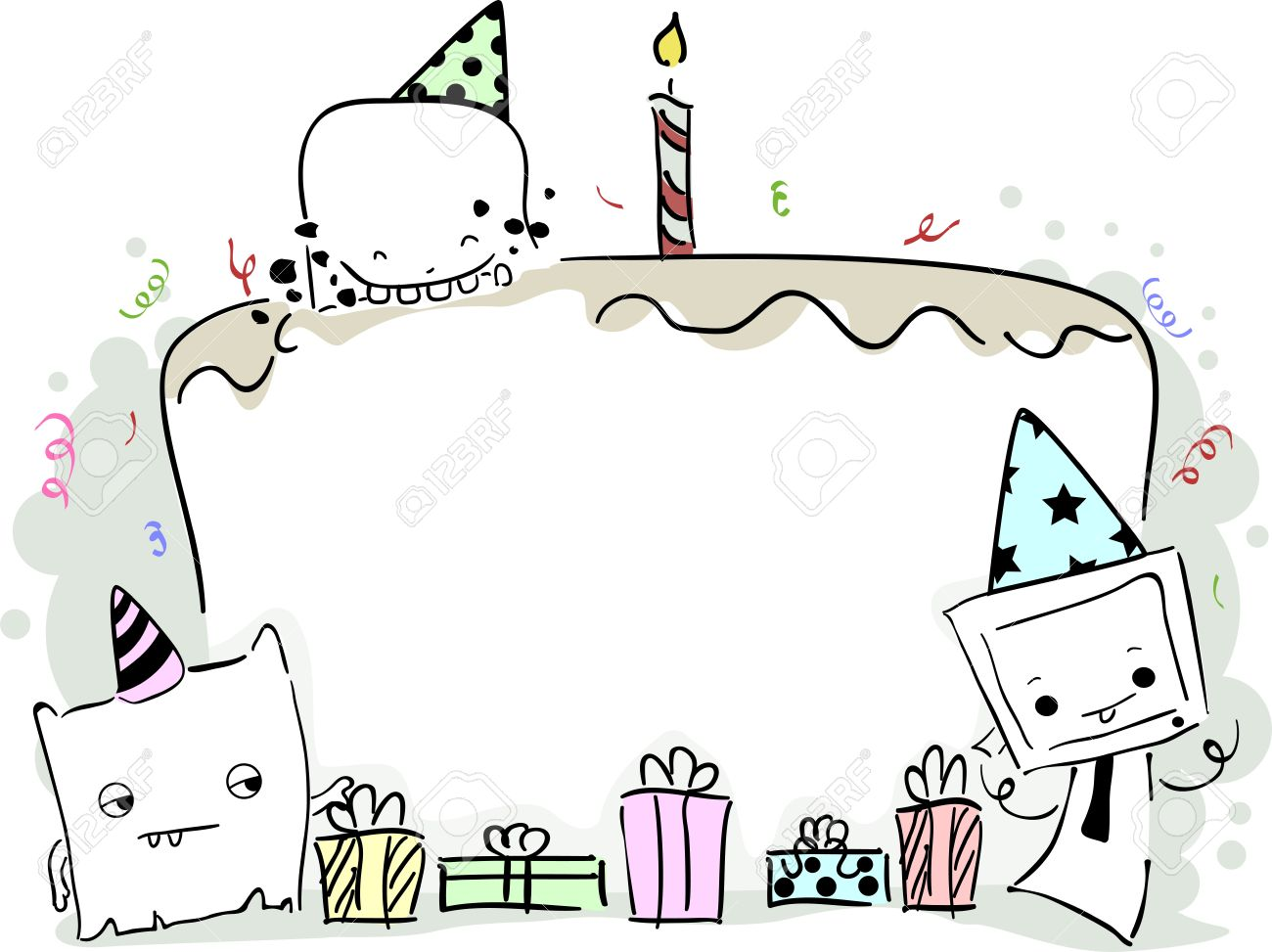 cute birthday photo frames ; 18834962-illustration-of-a-birthday-frame-featuring-cute-little-monsters