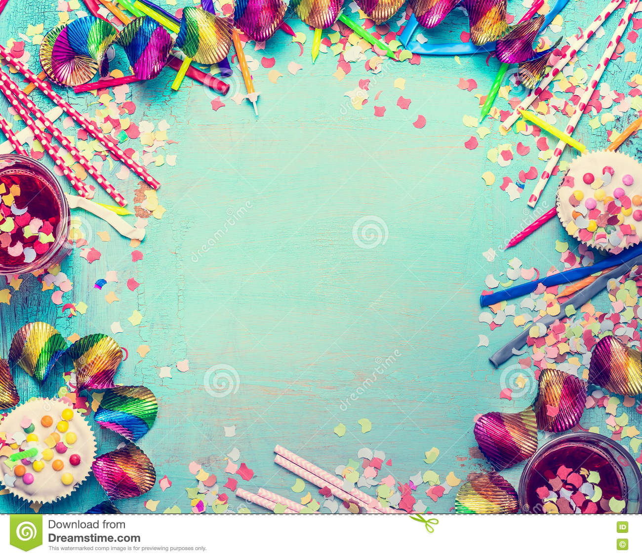 cute birthday photo frames ; happy-birthday-frame-party-tools-cake-drinks-confetti-turquoise-shabby-chic-background-top-view-place-text-70997681