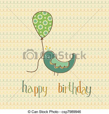 cute drawings for birthday cards ; greeting-birthday-card-with-cute-bird-clip-art-vector_csp7989946