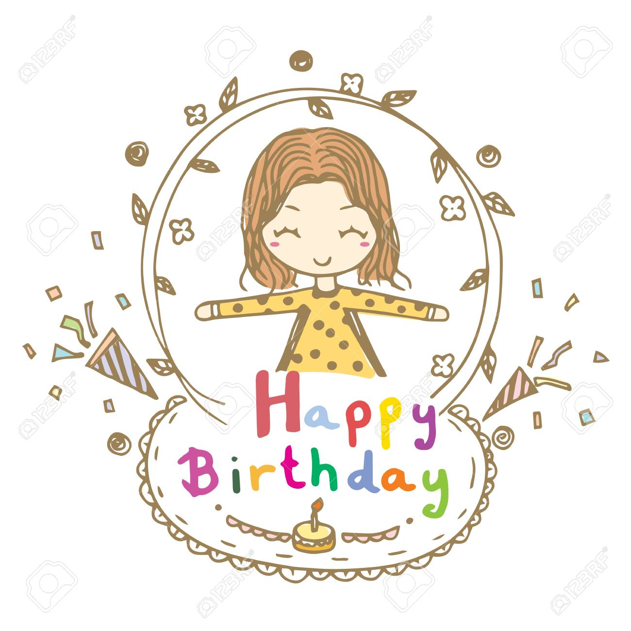 cute happy birthday drawings ; 88303732-doodle-drawing-vector-of-cute-girl-smile-and-open-arms-with-happy-birthday-word