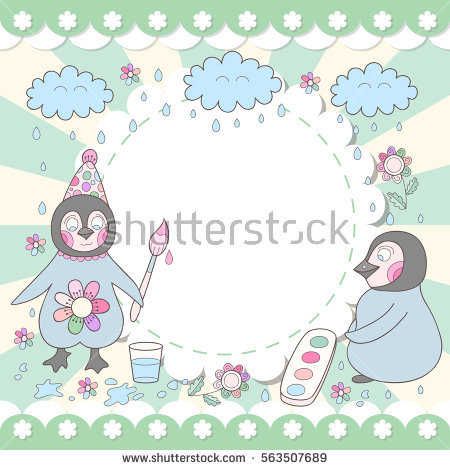 cute happy birthday drawings ; stock-vector-cute-happy-birthday-card-with-drawing-penguins-adorable-photo-frame-563507689