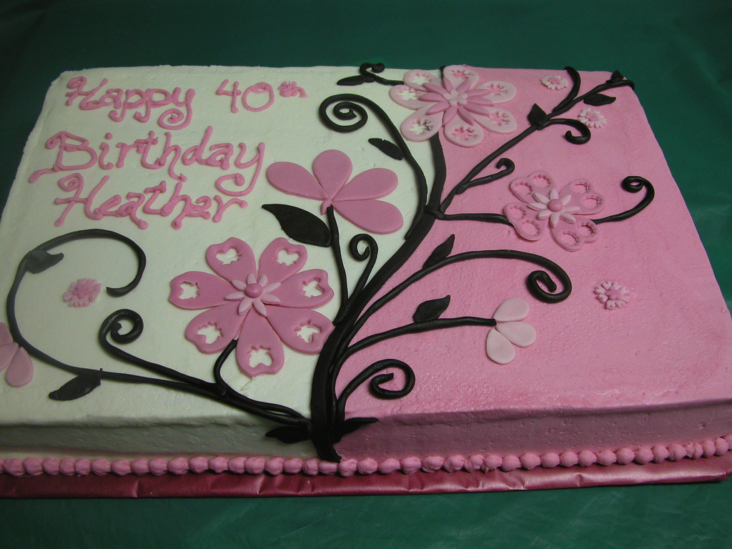 decorating a sheet cake for birthday ; 20-cake-decorating-ideas-for-50th-birthday-unique-pink-and-black-flowered-sheet-cake-of-20-cake-decorating-ideas-for-50th-birthday