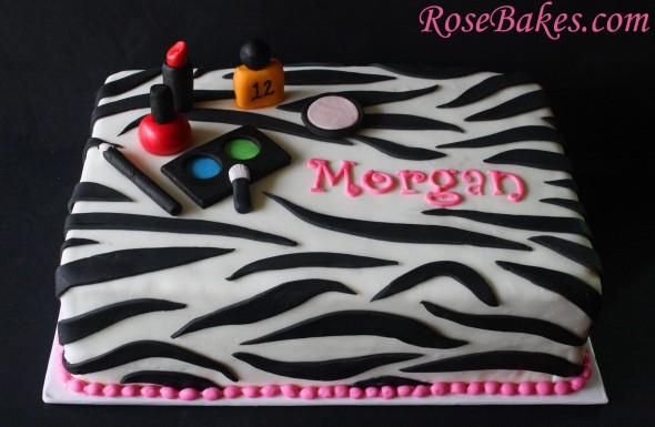 decorating a sheet cake for birthday ; Zebra-Make-Up-Cake-590x385