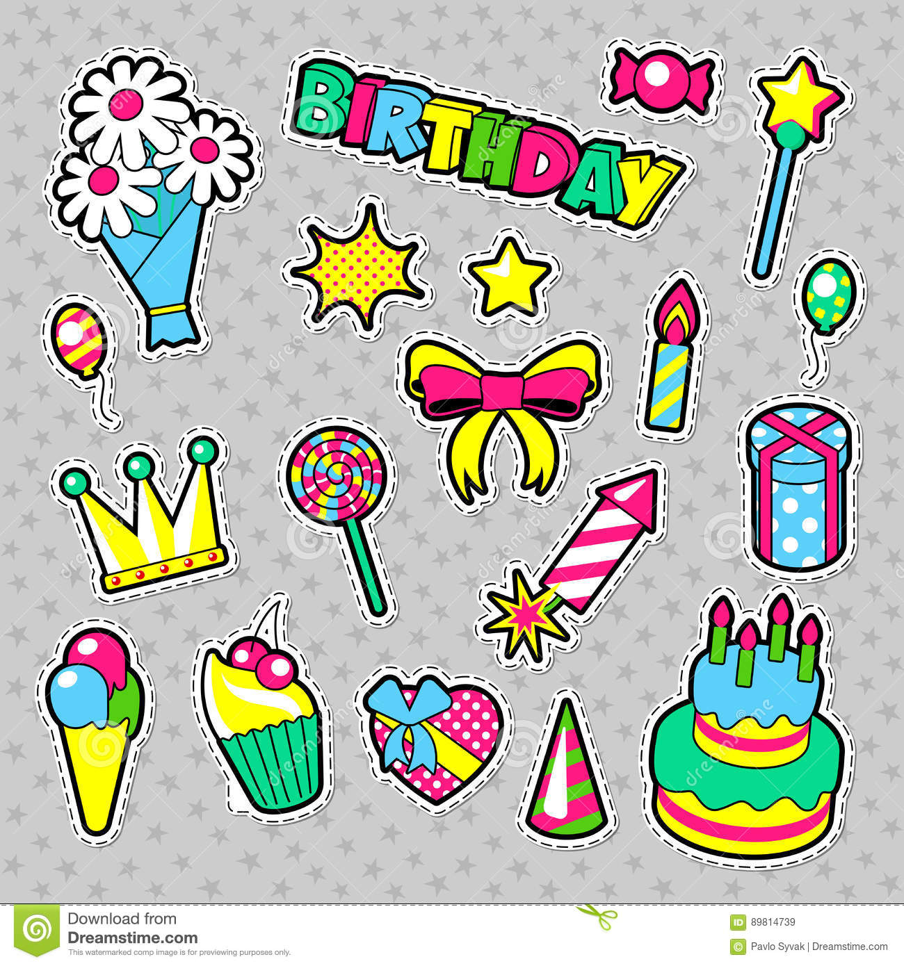 design sticker birthday ; fashion-badges-patches-stickers-birthday-theme-happy-birthday-party-elements-comic-style-cake-balloons-gifts-vector-89814739