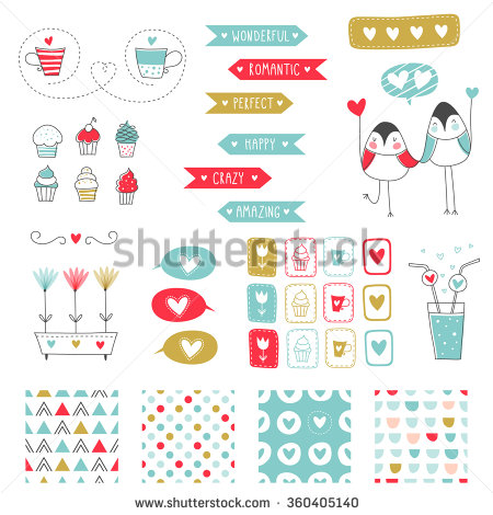 design sticker birthday ; stock-vector-big-set-of-romantic-vector-elements-for-cards-and-stickers-love-theme-design-for-wedding-360405140
