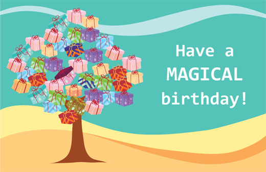 design your own birthday card printable ; birthday-card-template-free-tree-style-with-gifts-leaves-white-fonts-have-a-magical-birthday-unique-print-your-own-birthday-card