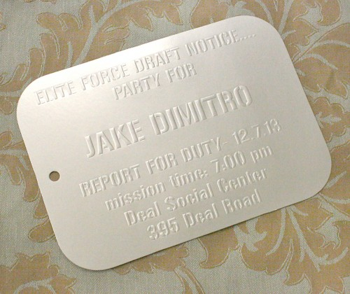 dog tag birthday invitations ; 75