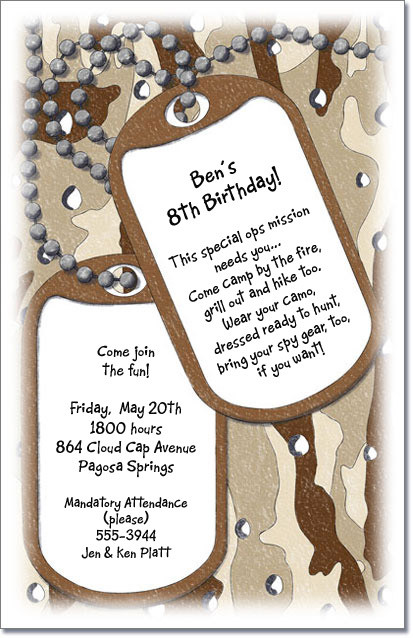 dog tag birthday invitations ; CamoTags1