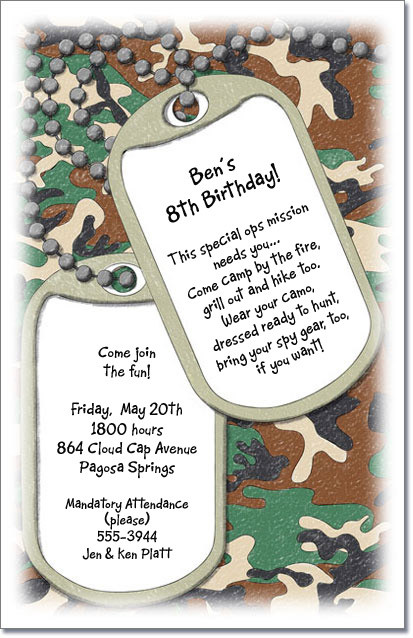dog tag birthday invitations ; JungleTags