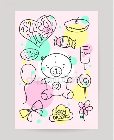 drawing birthday cards for kids ; depositphotos_90352476-stock-illustration-kids-hand-drawn-greeting-card
