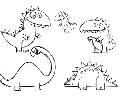 drawing birthday cards for kids ; dinosaur-card-rough