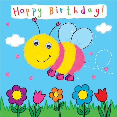 drawing birthday cards for kids ; wonderful-bee-kids-birthday-cards-animal-yellow-pink-color-flying-smiling-sky-drawing-flower-natural-inspiration