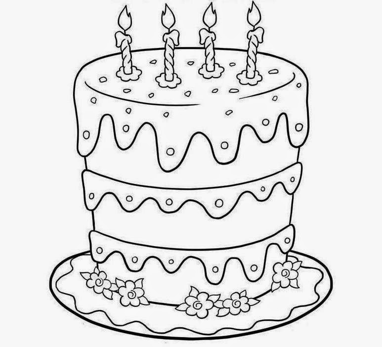 drawing of birthday ; Birthday_Cake_To_Color_3