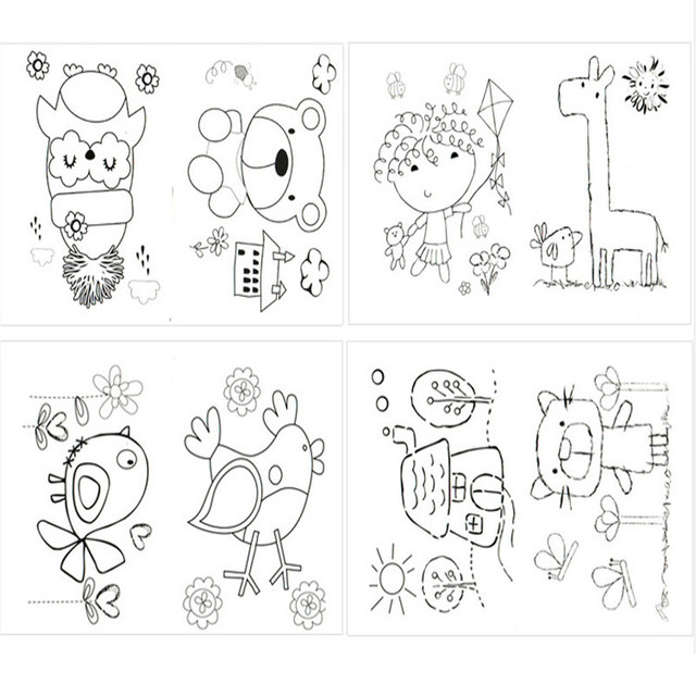 drawing of birthday ; Hot-Sale-DIY-8Pcs-Cartoon-Finger-Painting-Craft-Colorful-Drawing-Education-Learning-Picture-Birthday-Kids-Toys