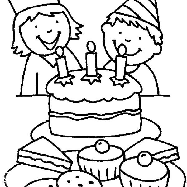 drawing of birthday ; birthday-drawing-for-kids-two-kids-smiling-birthday-party-coloring-pages-netart-toopy-and-binoo-printables-600x600