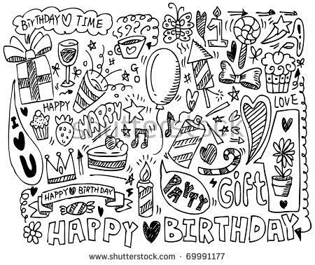 drawing of birthday ; stock-vector-hand-draw-birthday-element-69991177
