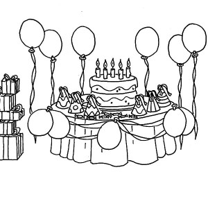 drawing of birthday celebration ; Prepare-for-Birthday-Party-Coloring-Pages-300x300