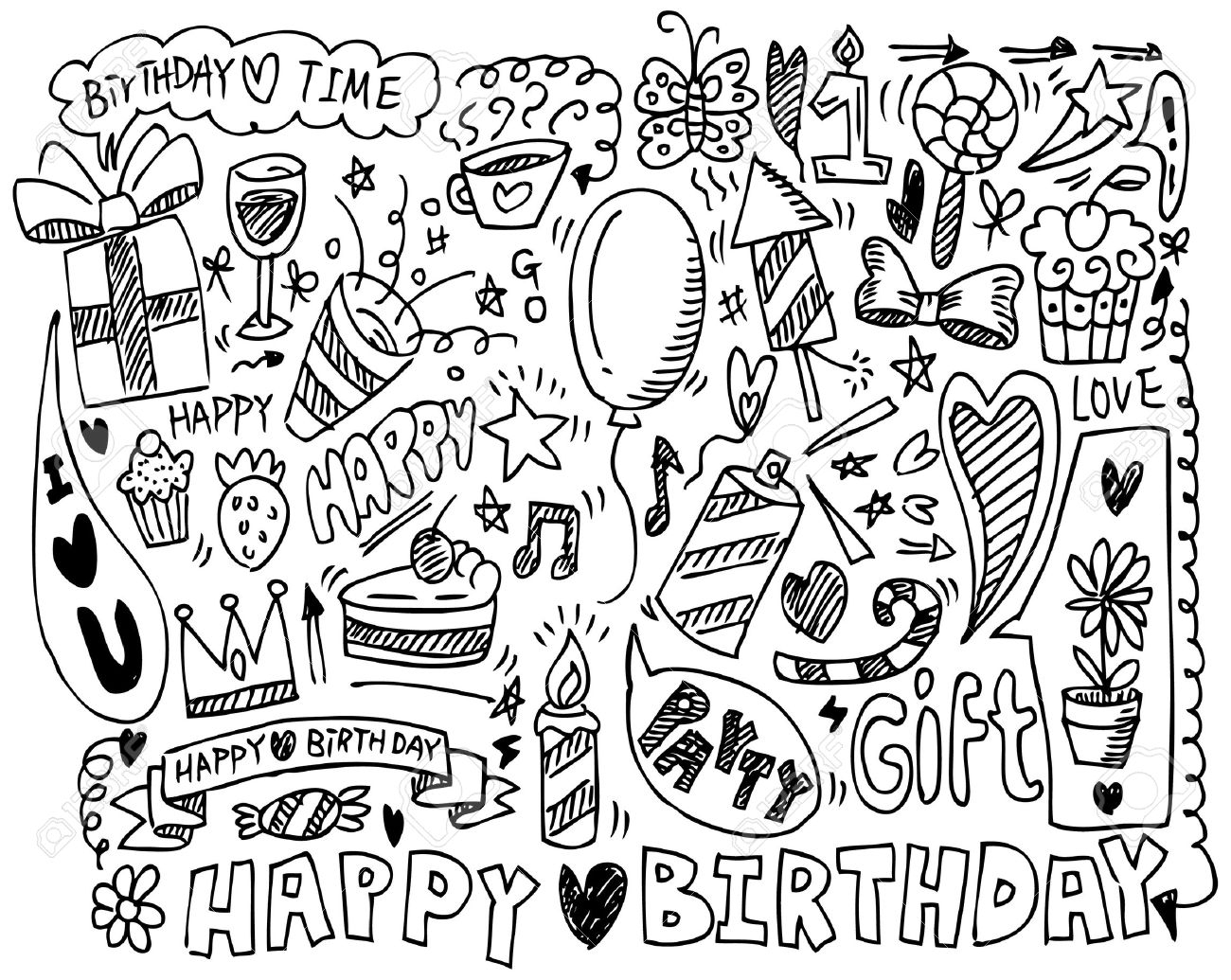 drawing of birthday celebration ; drawing-pictures-of-birthday-party-hand-draw-birthday-element-royalty-free-cliparts-vectors-and