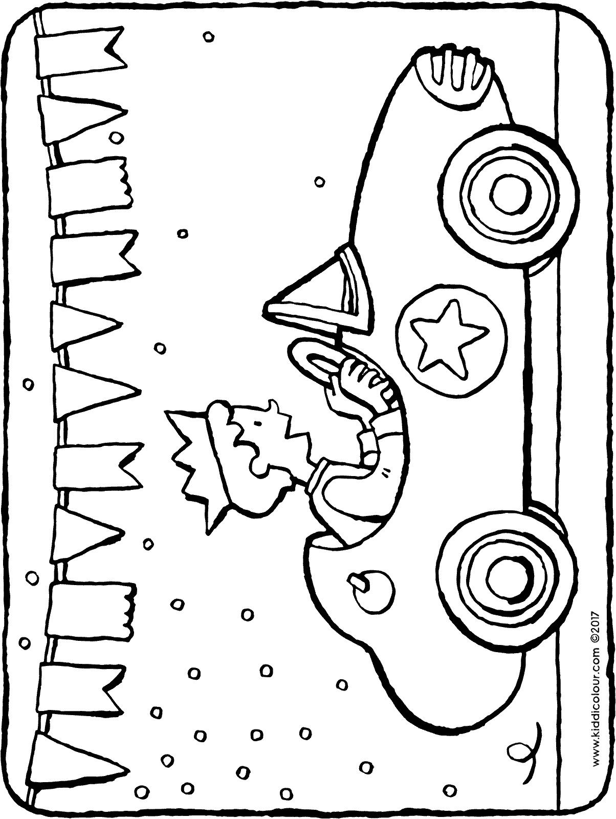 drawing of birthday celebration ; racing-car-birthday-celebration-colouring-page-01H