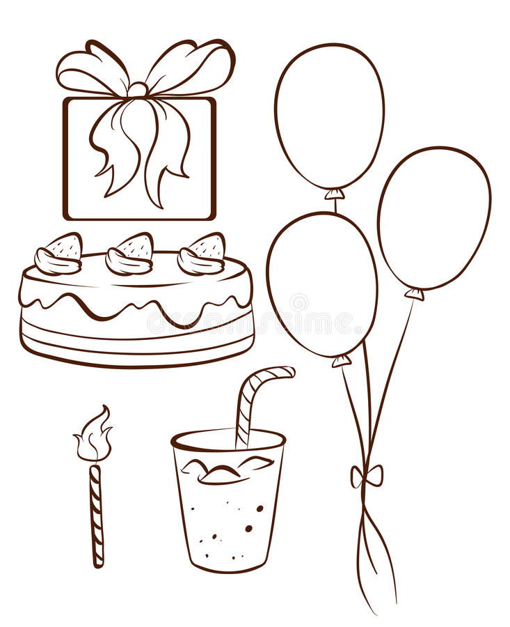 drawing of birthday celebration ; simple-drawing-birthday-celebration-illustration-white-background-45118716