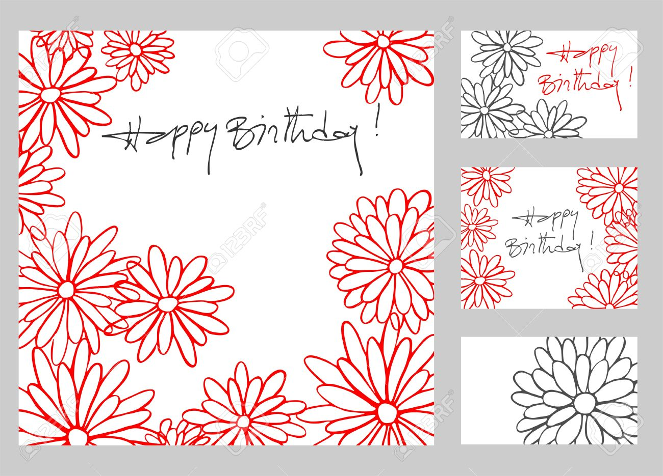 drawing of birthday greeting cards ; 18677569-Happy-birthday-greetings-cards-set-with-hand-drawn-flowers-Stock-Vector