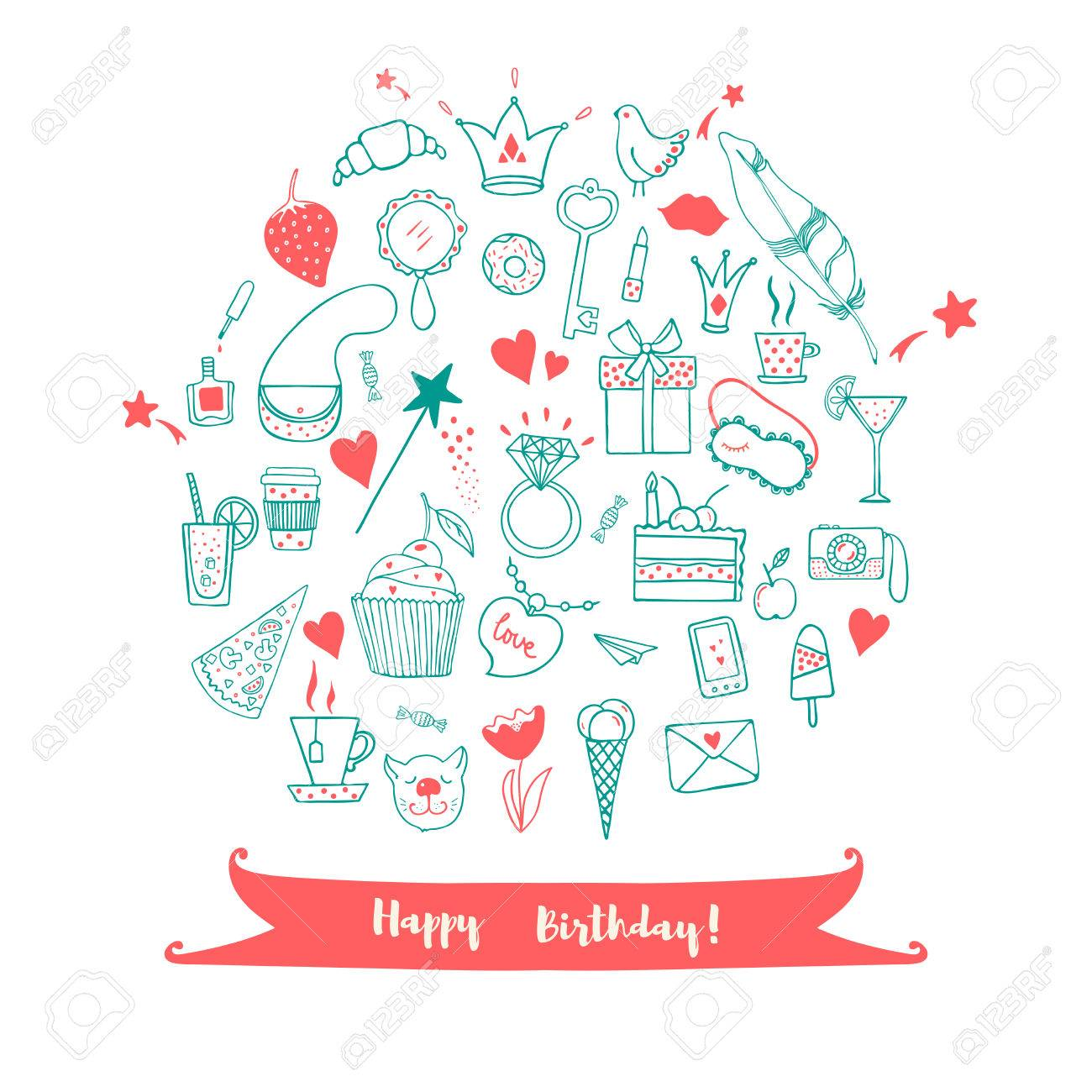 drawing of birthday greeting cards ; 52190235-happy-birthday-greeting-card-hand-drawn-doodle-vector-set-with-presents-for-girl-modern-princess-ico