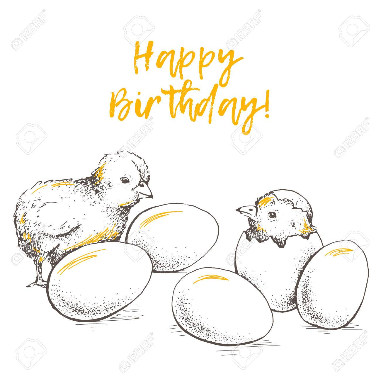 drawing of birthday greeting cards ; 68353137-greeting-card-of-chick-peeking-out-of-eggs-happy-birthday-sketch-illustration-graphics-handmade-draw-Stock-Photo