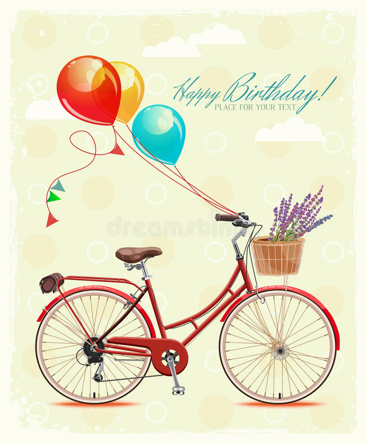 drawing of birthday greeting cards ; birthday-greeting-card-bicycle-balloons-vintage-style-vector-illustration-retro-hand-drawing-44221467