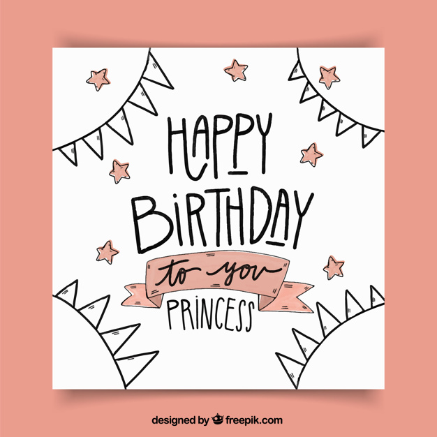 drawing of birthday greeting cards ; birthday-greeting-card-with-drawings-and-stars_23-2147604538