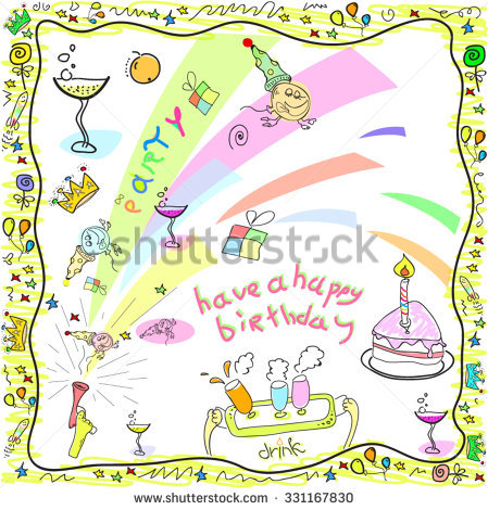 drawing of birthday greeting cards ; stock-vector-happy-birthday-greeting-card-drawing-in-doodles-331167830