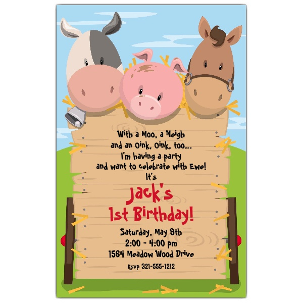 farm themed birthday invitation wording ; 643-58-1241-z