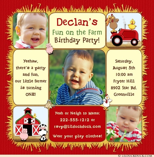 farm themed birthday invitation wording ; Barnyard-Farm-Photo-Invitation-yeehaw-animals-red-birthday