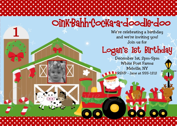 farm themed birthday invitation wording ; christmasfarm-page1