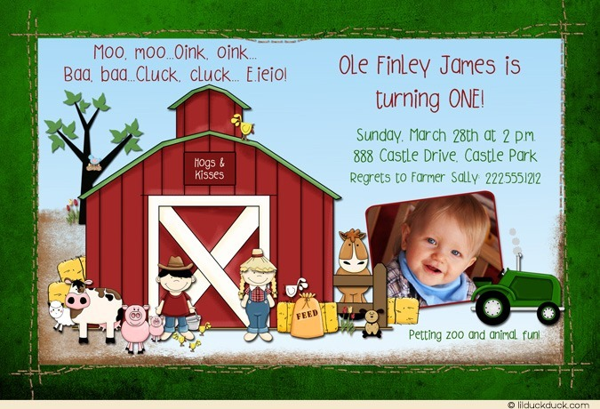 farm themed birthday invitation wording ; farm-animal-birthday-invitation-spring-green-photo