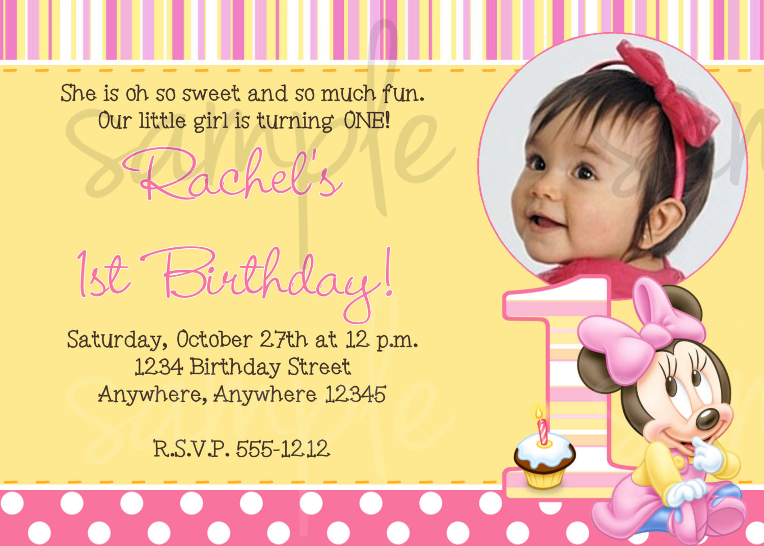 First Birthday Invitation Quotes Wording By Baby